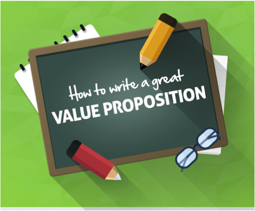 Black board with Value Proposition